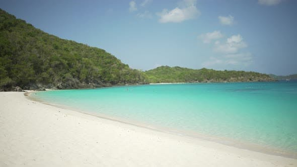 Thumbnail for Background Plate of Green hills around the white sandy Caribbean beach