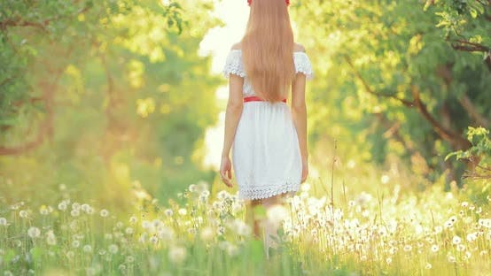 Young Woman Walks Through the Grass in the Summer