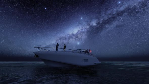 Luxury Yacht and Milky Way View