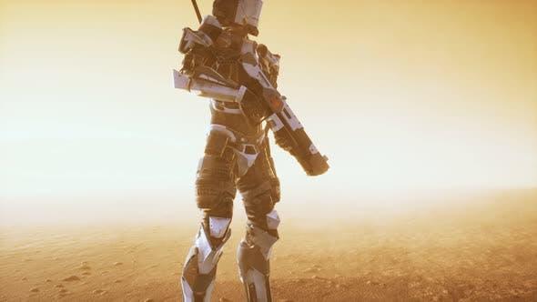 Futuristic Soldier in Desert at Sandstorm
