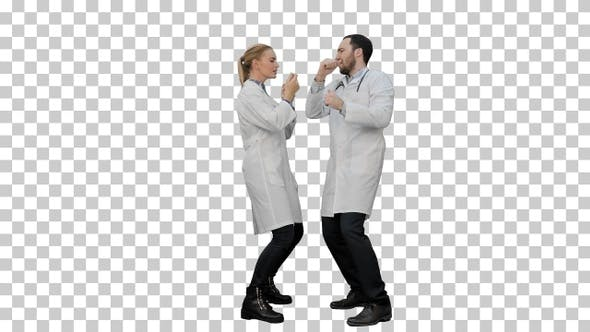 Thumbnail for Two funny medical doctors with funny energy dance, Alpha Channel