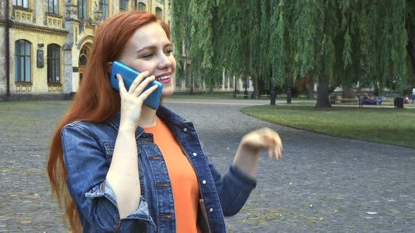 Thumbnail for Girl Talking on Phone Smiling and Laughing