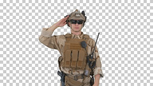 Soldier ranger in ammunition saluting, Alpha Channel