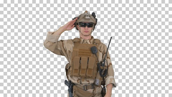 Thumbnail for Soldier ranger in ammunition saluting, Alpha Channel