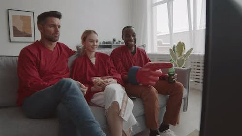 Woman and Men Watching Game