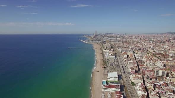 Thumbnail for Aerial View of Beach Sea Railways and Hotels Barcelona Spain