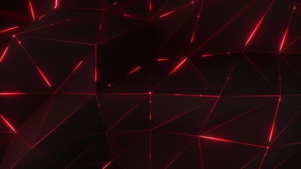 Thumbnail for 4K Abstract motion background. Low-poly dark waving surface with glowing red light.
