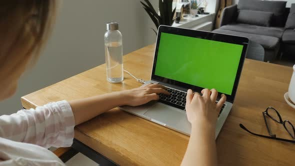 Thumbnail for Girl Working With Green Screen Laptop
