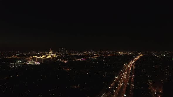 Thumbnail for Aerial Night View of the Leninsky Avenue, Moscow, Russia.
