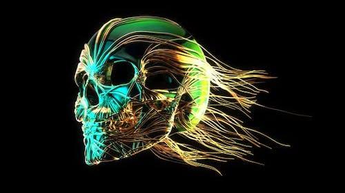 3D golden abstract skull in line art