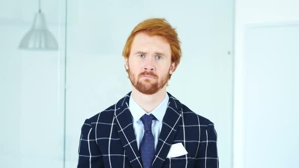 Thumbnail for Sad Upset Redhead Businessman with Red Hairs in Office