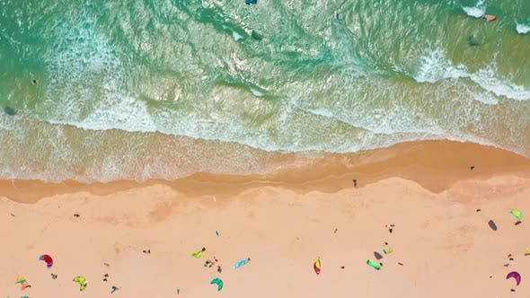 Thumbnail for Aerial View. Big Waves Rolling on Coast Ocean, Breaking Waves, Shoreline