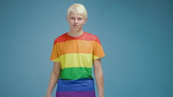 Thumbnail for Young Gay Blond Guy With Blue Eyes In LGBT Community
