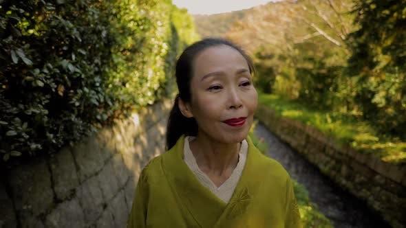 Elegant Japanese woman in Kyoto Japan