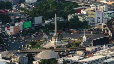 time lapse of Victory monument in central transportation in Bangkok, Thailand