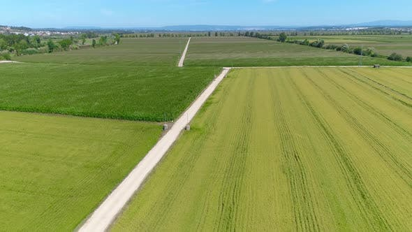 Thumbnail for Aerial View Of Beautiful Farm Fields And A Dirt Road