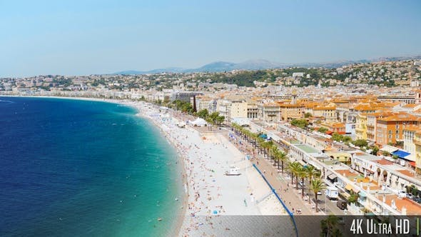 Thumbnail for 4K Aerial Overview of the Promenade in Nice France