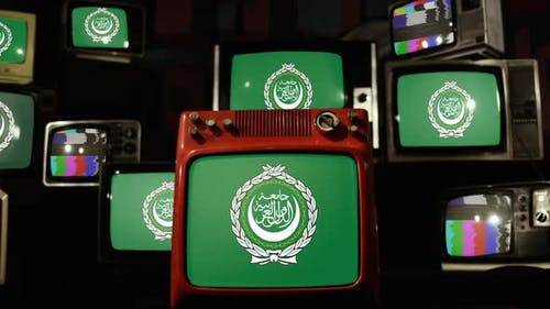 Flag of the Arab League and Retro TVs.