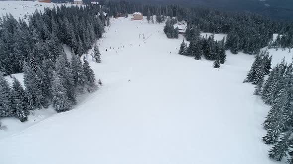 Fly over mountain ski resort
