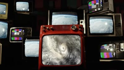 Cyclone, Hurricane or Typhoon as Seen from the ISS on Retro TVs.