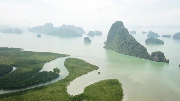 Thumbnail for Samet Nangshe Viewpoint Aerial View in Phan Nga, Thailand