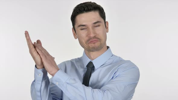 Cover Image for Applauding Businessman, Clapping on White Background