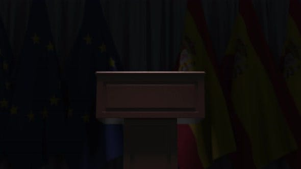Many Flags of Spain and the European Union