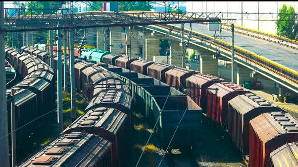 Freight Trains at a Station