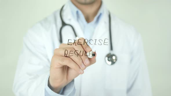 Thumbnail for Excercise Regularly, Doctor Writing on Transparent Screen