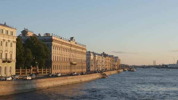 Thumbnail for Palace embankment in the evening - St. Petersburg, Russia