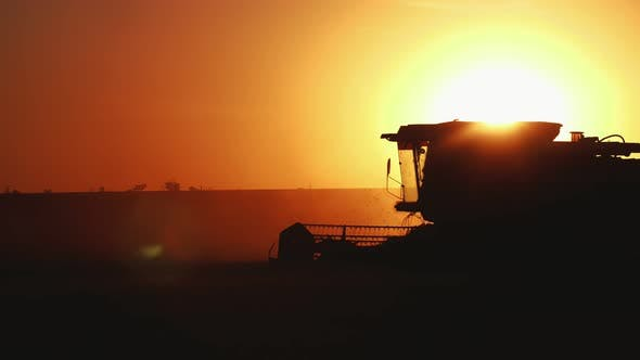 Thumbnail for Laborious Combine Harvester Working Hard at Shimmering Sunset in Slow Motion