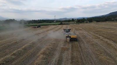 Farm Harvesting Aerial View