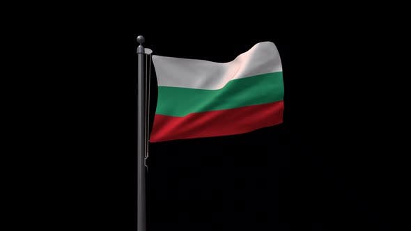 Bulgaria Flag On Flagpole With Alpha Channel