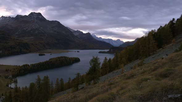 Thumbnail for Aerial View on Autumn Lake Sils in Swiss Alps
