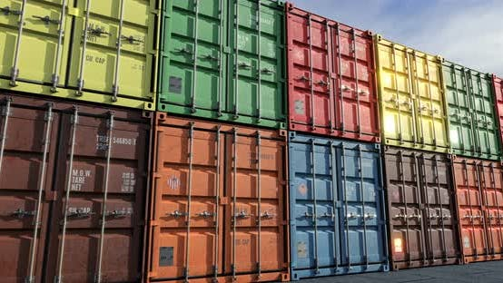 Thumbnail for Loopable Move along Rows of Cargo Shipping Containers