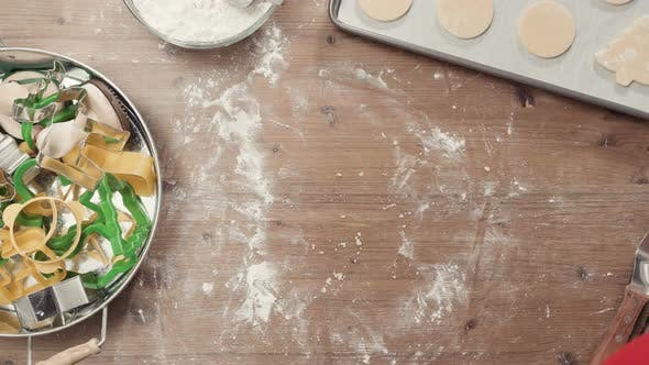 Thumbnail for Step by step. Rolling dough. Rolling dough. Holiday season baking. Baking sugar cookies for Christmas