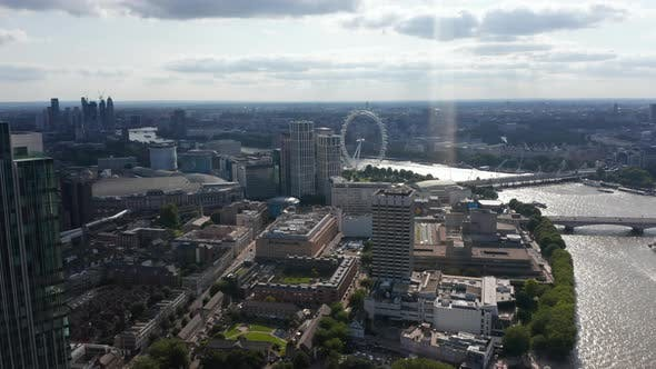 Aerial Panoramic View of National Theatre Royal Festival Hall and London Eye Tourist Attraction on