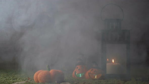 Thumbnail for Smoky Background For Halloween Holiday Pumpkin Candles Lantern Horror