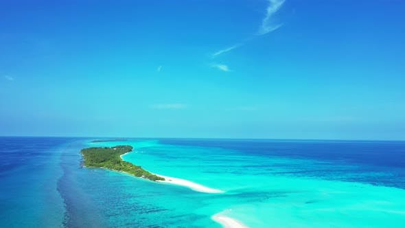 Thumbnail for Wide angle drone travel shot of a sunshine white sandy paradise beach and aqua turquoise water