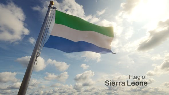 Thumbnail for Sierra Leone Flag on a Flagpole