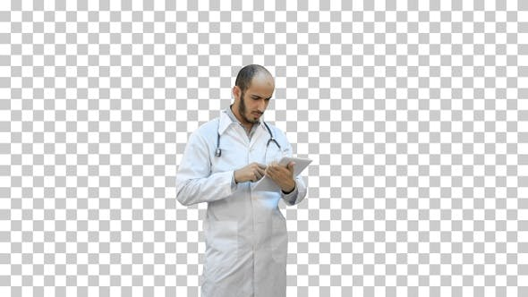 Thumbnail for Male doctor using digital tablet, Alpha Channel