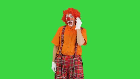Thumbnail for Clown with Smartphone Making a Call on a Green Screen Chroma Key