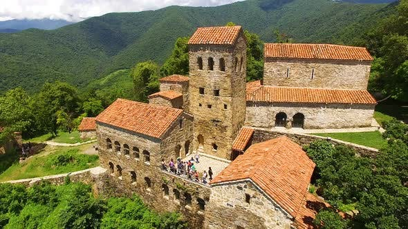 Exterior of famous ancient Nekresi monastery in Alazani valley