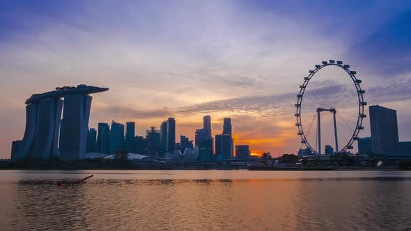 Thumbnail for Panorama of Singapore at Sunset