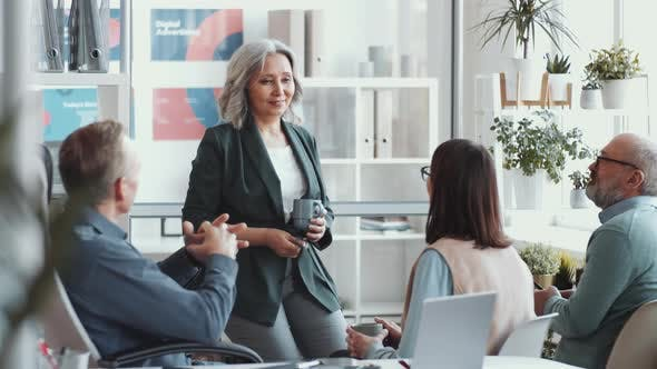 Thumbnail for Senior Businesswoman Giving a Briefing to Employees in the Office