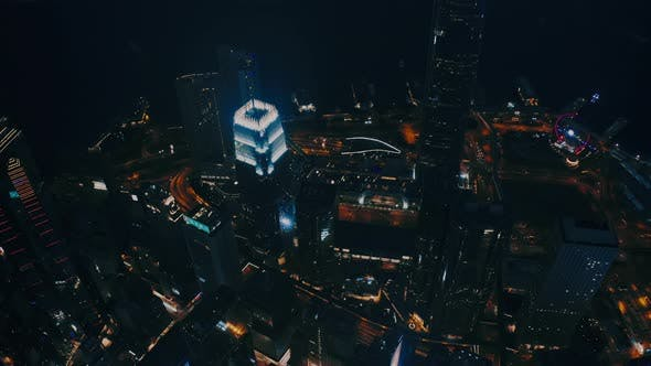 Thumbnail for Aerial View Office Building at Night in Hong Kong