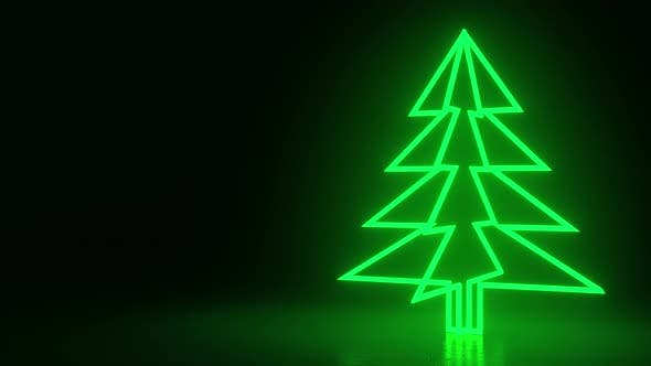Thumbnail for Christmas trees, green neon glow icon on darkness black background