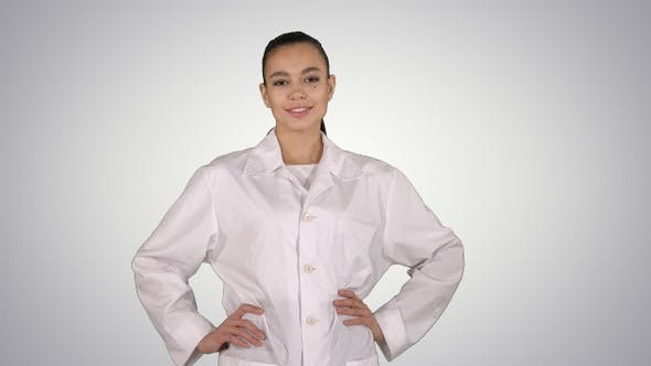 Thumbnail for Woman Doctor Walking Like Fashion Model on Gradient Background