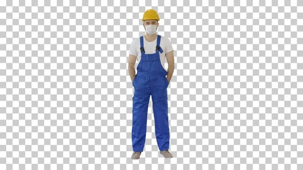 Thumbnail for Masked construction man in hardhat, Alpha Channel