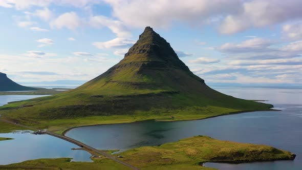 Iceland. Aerial View on The Mountain and Ocean